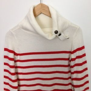 Nautica Women XS Stripes Cowl Button Neck Sweater